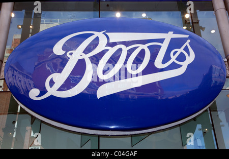 Sign on branch of Boots in Oxford Street, London - Stock Photo