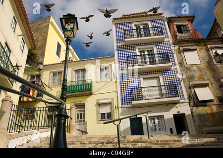 Street scene, The Alfama, Lisbon, Portugal - Stock Photo