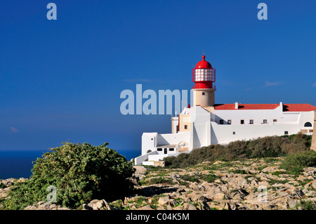 Portugal, Algarve: Lighthouse Saint Vincent nearby Sagres - Stock Photo