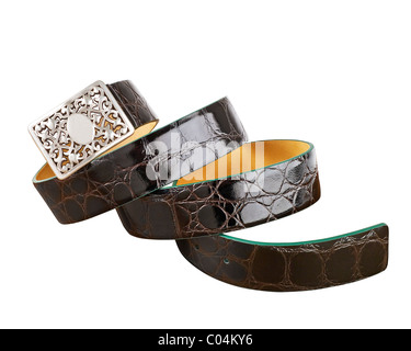 Brown crocodile belt with silver buckle - Stock Photo