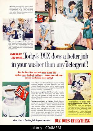 Original 1950s full page advertisement in American consumer magazine for DUZ washing powder - Stock Photo