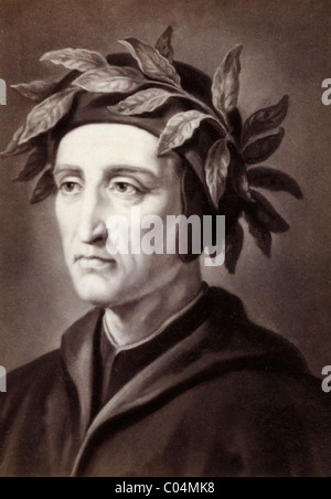Dante Alighieri (1265-1321) Italian Poet. Portrait c19th Albumen Print of Earlier Painting. - Stock Photo
