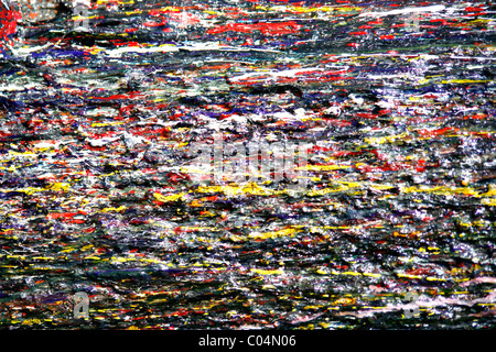drops of multicolored paint on a wall - Stock Photo