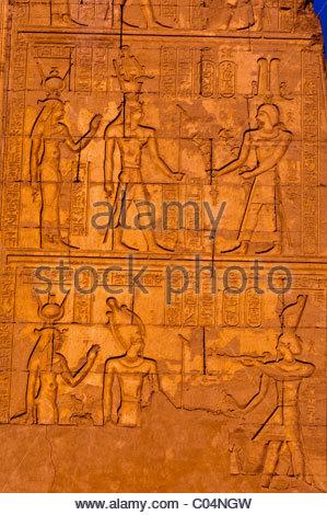 Hieroglyphics, Kom Ombo archaeological site (on the Nile River), Egypt - Stock Photo