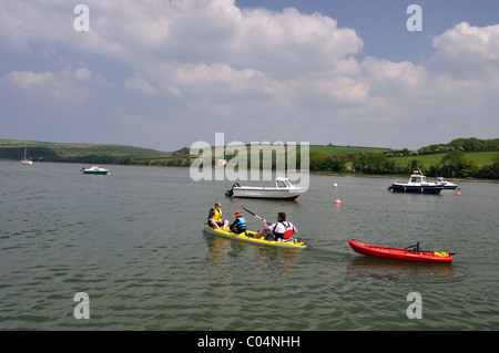 Family kayaking on River Teifi, Pembrokeshire, Wales - Stock Photo