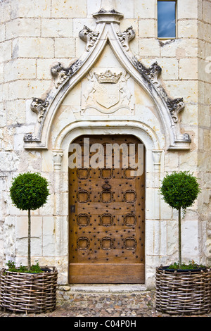 Ornate doorway at Renaissance 15th Century Chateau du Rivau, Chateaux of the Loire, Loire Valley, France - Stock Photo