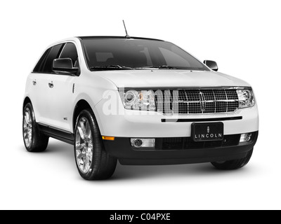 White 2010 Lincoln MKX SUV isolated car on white background with clipping path - Stock Photo