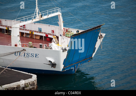 ro-ro ferry berthed in palermo harbour with bow ramp secured up. - Stock Photo