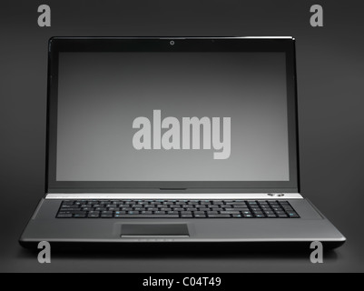 High-end 17-inch black laptop computer isolated with a clipping path - Stock Photo