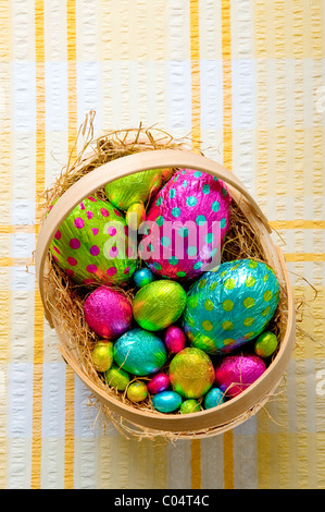 Group of brightly colored chocolate easter eggs of various sizes in a basket on a tablecloth - Stock Photo