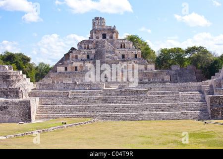 Edificio de los cinco pisos or The Five Story Building, Edzna, Campeche, Mexico - Stock Photo