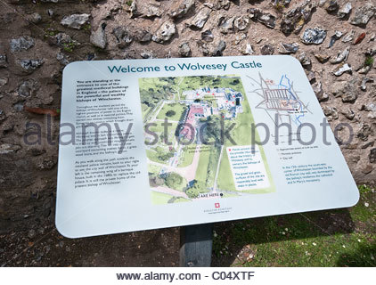 Information board for Wolvesey Castle, Winchester, Hampshire, UK - Stock Photo