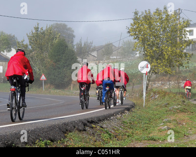 Bicycle pilgrims on the Camino de Santiago, Spain. - Stock Photo