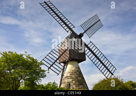 Windmill, moulin a vent, at La Herpiniere near Saumur, Loire Valley, France - Stock Photo