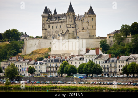 Chateau Saumur and the River Loire, in the Loire Valley, France - Stock Photo
