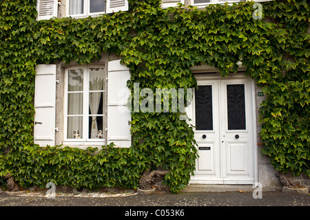 Typical grand French house in Montmartin-Sur-Mer, Normandy, France - Stock Photo