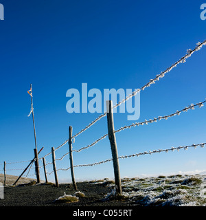Fence covered in hoarfrost in winter - Stock Photo