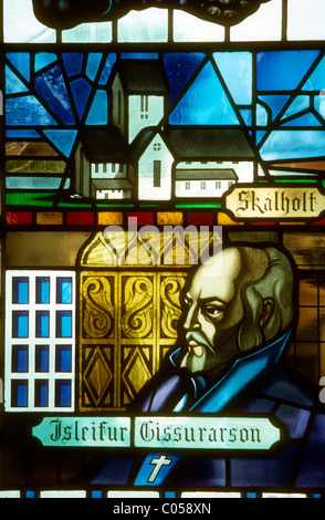 Stained glass window in the cathedral at Akureyri, Iceland showing Isleifur Gissurarson the first christian bishop - Stock Photo