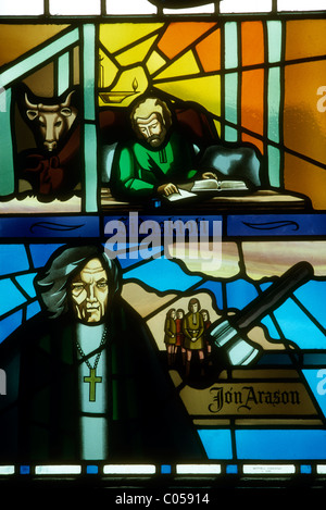 Stained glass window in the cathedral at Akureyri, Iceland showing Bishop Jon Arason. - Stock Photo