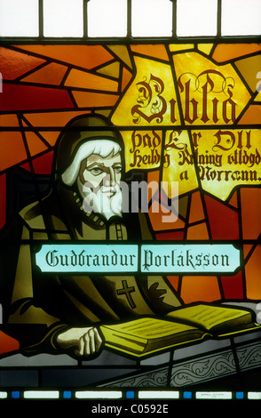 A stained glass window in the cathedral at Akureyri, Iceland showing Bishop Gudbrandur Thorlaksson. - Stock Photo