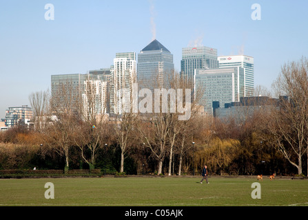 Canary Wharf skyline seen from Millwall Park, Isle of Dogs, London - Stock Photo