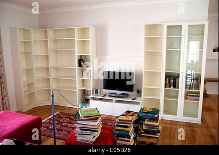 Empty bookshelves - Stock Photo
