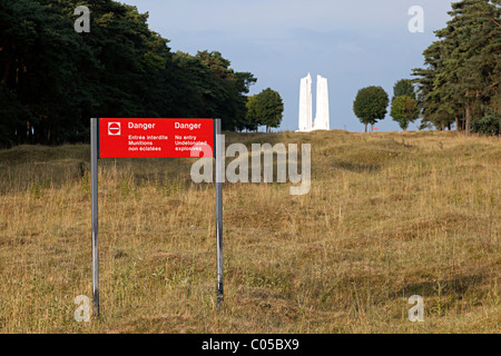 Danger no entry undetonated explosives area with sign near the Vimy Ridge first world war memorial France - Stock Photo
