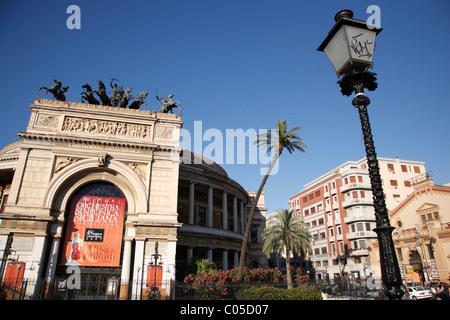 Politeama also know as Garibaldi Theater, Palermo, Sicily, Italy, Europe - Stock Photo