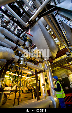 technician,pipes, Newport, Isle of Wight, Waste recycled burning Power Station. Newport isle of Wight england UK - Stock Photo