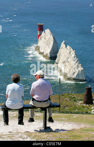 Isle of Wight, needles, Tourist at the Battery looking at the Lighthouse - Stock Photo
