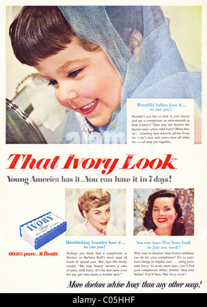 Original 1950s full page advertisement in American consumer magazine for IVORY SOAP - Stock Photo