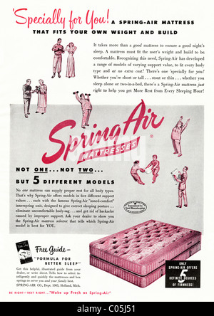 Original 1950s full page advertisement in American consumer magazine for SPRING-AIR MATTRESS - Stock Photo