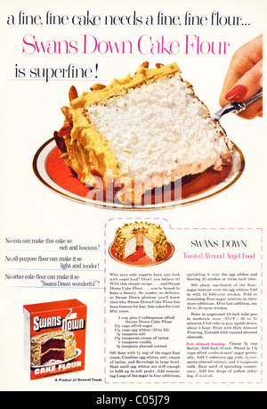 Original 1950s full page advertisement with recipe in American consumer magazine for SWANS SOWN CAKE FLOUR - Stock Photo
