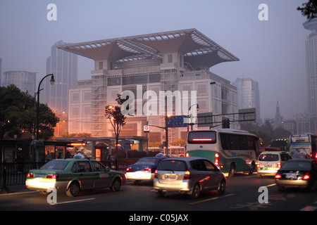 Shanghai Urban Planning Exhibition Hall in the morning, Shanghai China. - Stock Photo