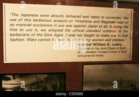 Anti-nuclear bomb quote from Admiral William D. Leahy - Stock Photo