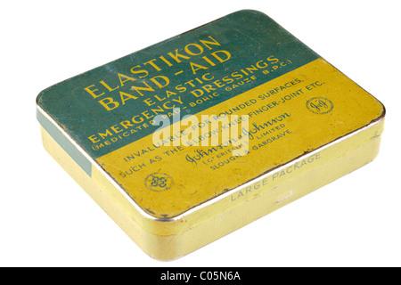 Old vintage Johnson and Johnson Elastikon Band-aid tin. EDITORIAL ONLY - Stock Photo