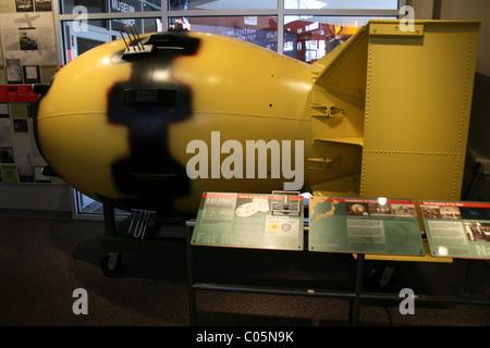 Model of atomic bomb called Fat Man, dropped on Nagasaki Japan.  Museum exhibit at Bradbury Science museum, New - Stock Photo