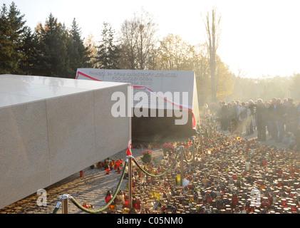 Powazki military cemetery in Warsaw, Poland - monument to the 96 people who died in Smolensk plane crash - Stock Photo