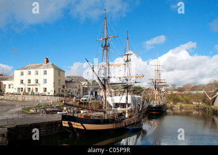 Tall ships in the harbour at Charlestown, Cornwall, UK - Stock Photo