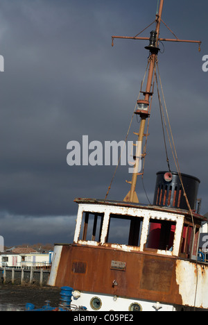 Old fishing boat Irvine Harbour - Stock Photo