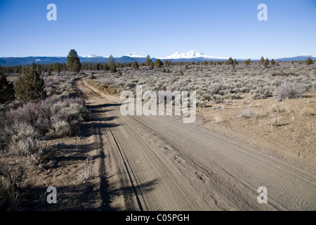 High desert shrubbery and a lonely dirt road in the central Oregon Cascade Mountains - Stock Photo