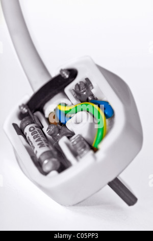 Uk three pin plug wiring diagram with 13amp fuses stock photo uk mains plug with back removed to expose the wiring stock photo asfbconference2016 Image collections