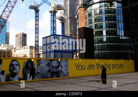 Construction Cranes on The London Pinnacle building site from in front of the Aviva building, Leadenhall Street, - Stock Photo