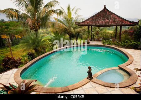 The swimming pool at Villa Cepik in the Sideman valley  of Bali, has a panoramic view of rice terraces and mountain - Stock Photo