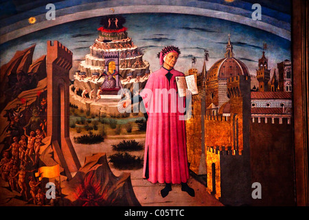 Dante and Divine Comedy painted by Domenico di Michelino in 1465 Duomo Basilica Cathedral, Church Florence Italy - Stock Photo