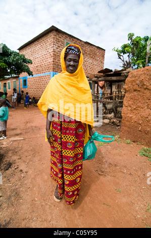 A smiling Burkinabe woman in Kibidwe, Bobo Dioulasso. - Stock Photo