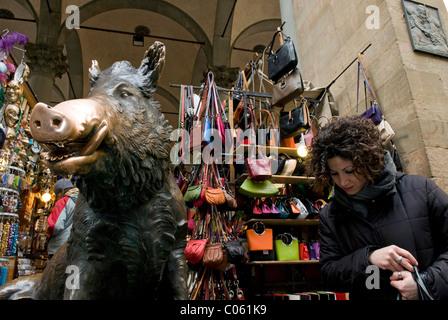 The Porcellino, Loggia del Mercato Nuovo or Loggia del Porcellino, Firenze, UNESCO WORLD Heritage Site, Tuscany, - Stock Photo