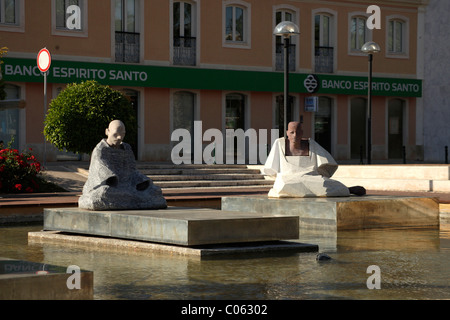 Fountain with statues in Silves, Algarve, Portugal, Europe - Stock Photo