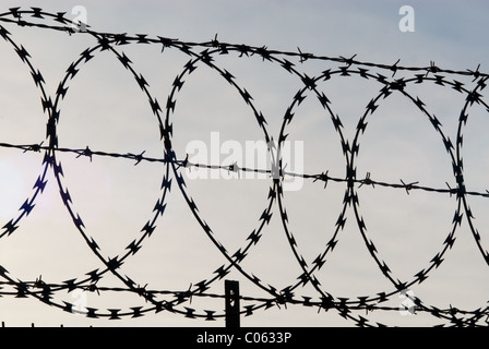 A security fence round an unused UK military warehouse. The fence ...