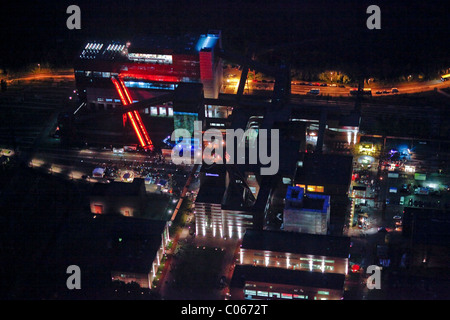 Aerial view, UNESCO World Heritage Site Zeche Zollverein, Extraschicht 2010, night of industrial culture, summer - Stock Photo